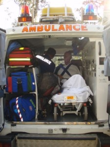 Si disappearing into the 4WD ambulance