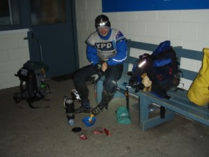 preparing a hot drinks still on the ride as the remaining 3 Yogi's continue to the finish line
