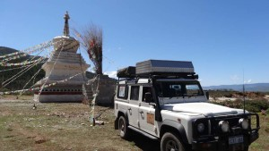 Lara next to a Tibetan holy site in Zhongdian, the self-proclaimed Shangri-La...