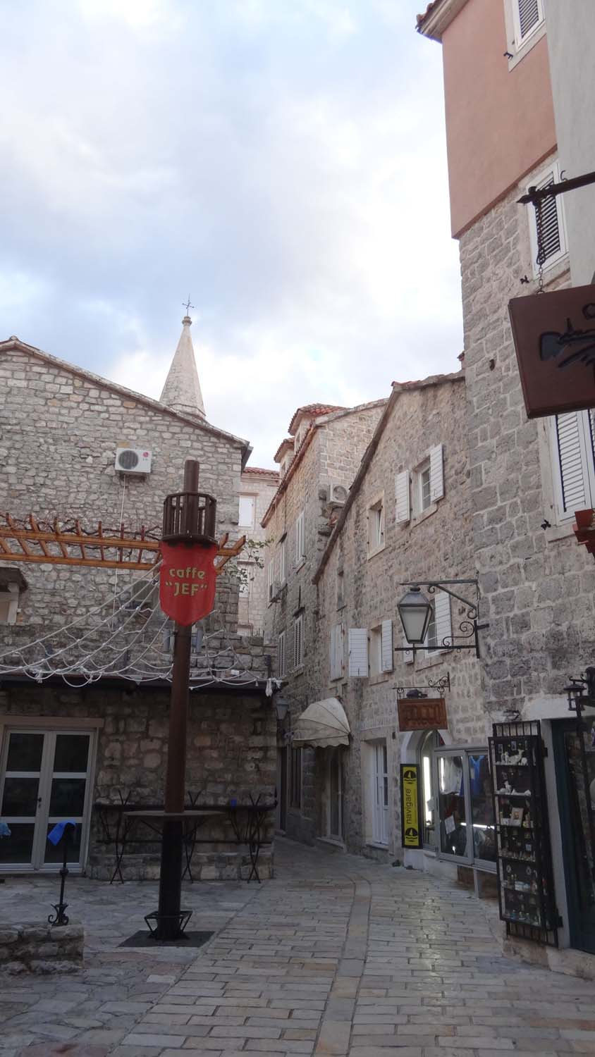 narrow deserted streets, cafes and souvenir shops - beautiful old towns of the Adriatic Coast