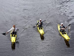 team Woop Woop getting to the end of the last paddle