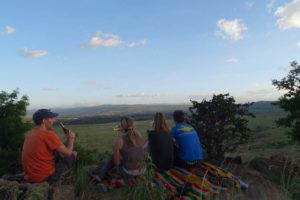 our favourite sundowner spot on Borana, looking down onto the elephants beneath us