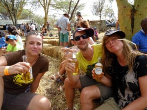 Jude, James and Helen enjoying a cider after a fun day out on the bikes