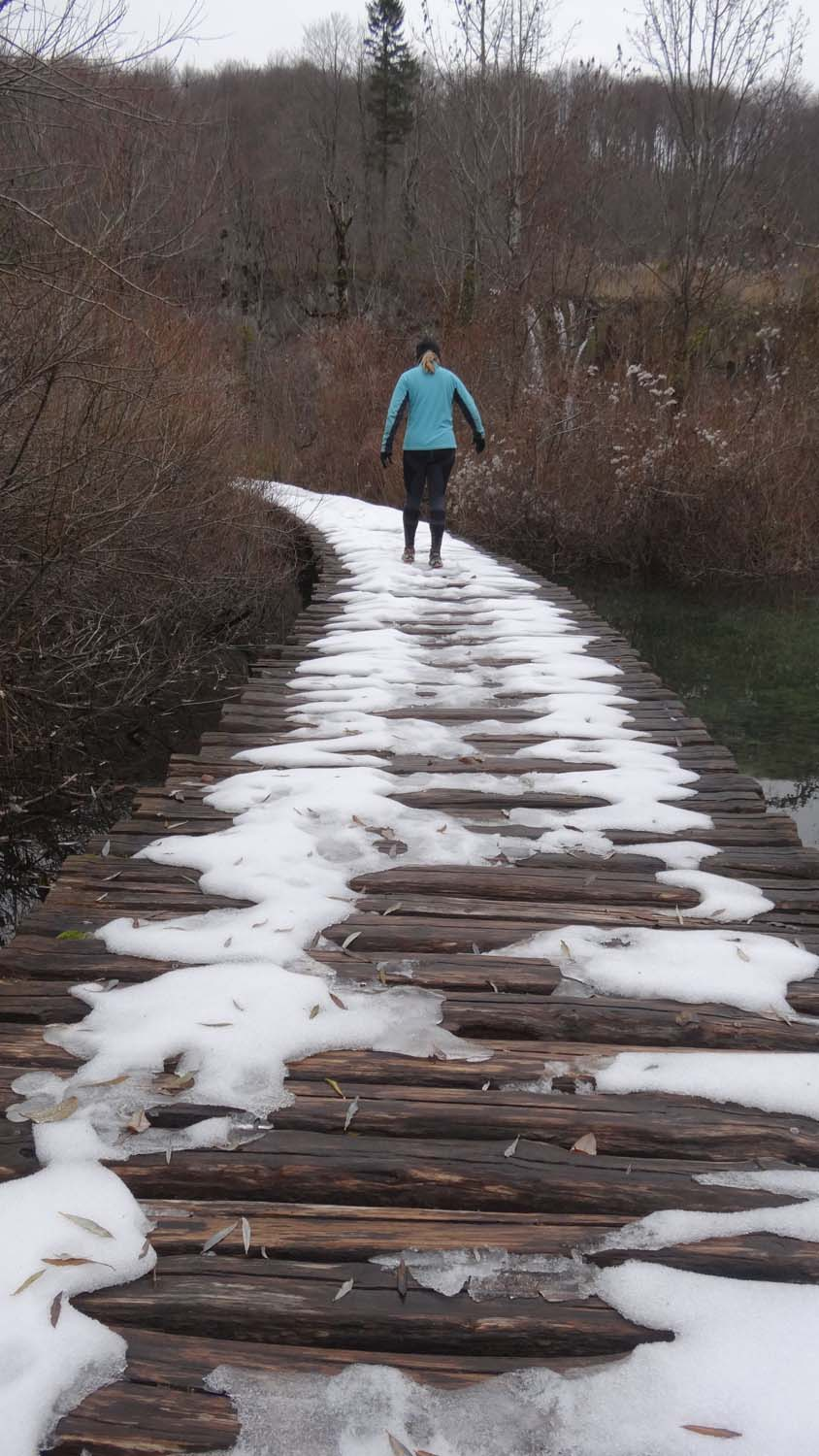 some snow on the boardwalks makes for interesting walks around the lakes