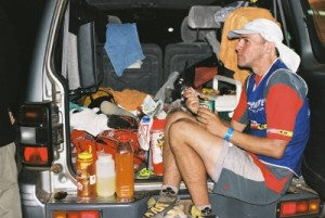 Ian on his break, getting some food in, I think this was at the start of the mtb into the night