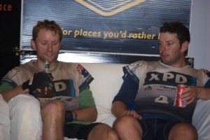 Marcus and Muz on the finishers couch