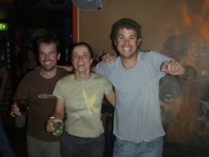 Mike, Jude and Clayton partying after the race