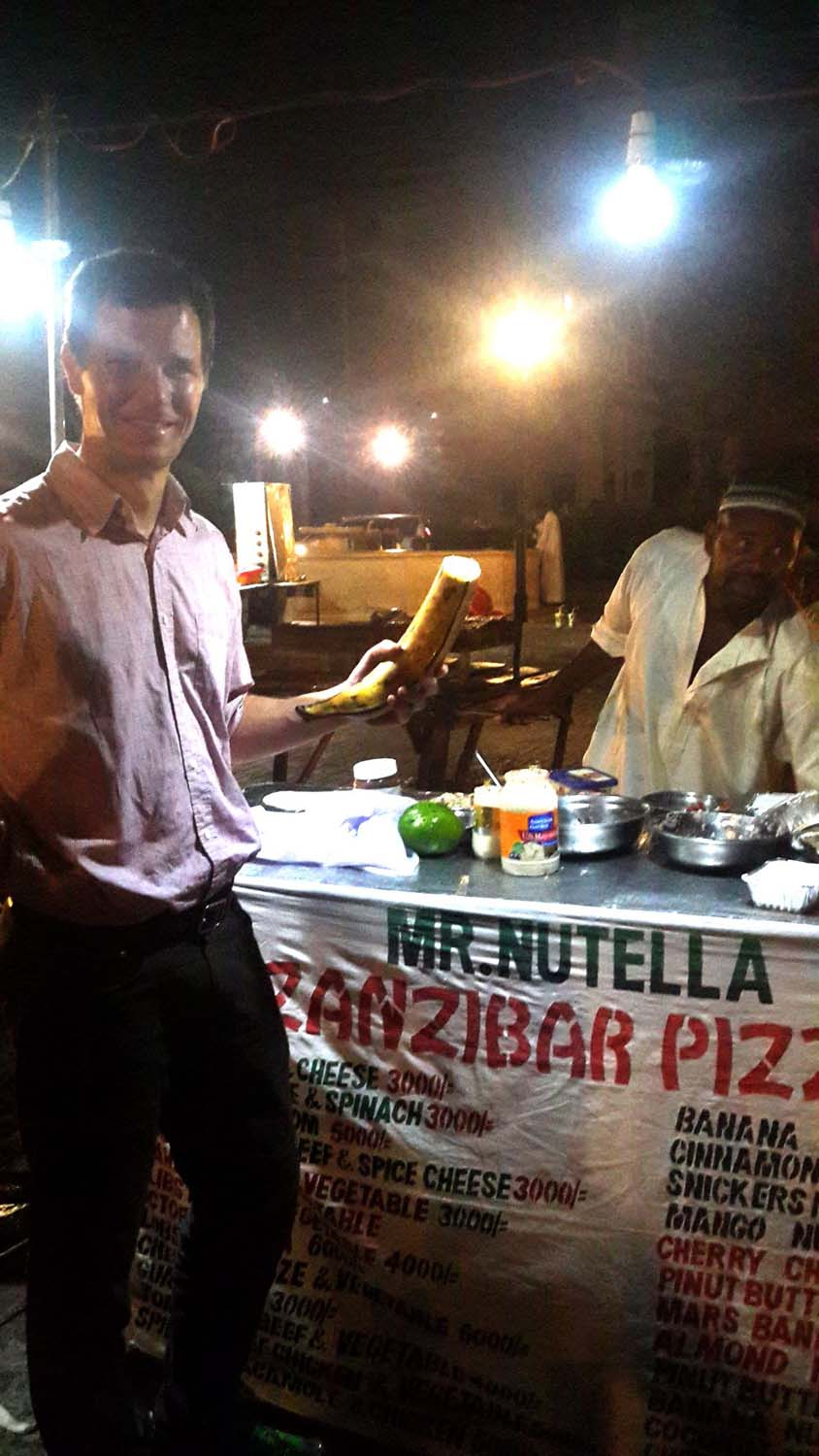 nutella and banana pancake in Stonetown, check out the size of the banana!