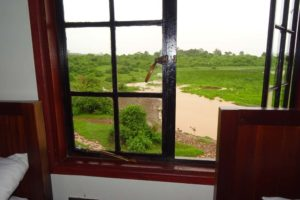 view from our room in the Ark in the Aberdare NP over the waterhole