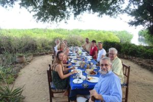 breakfast under the big tree - Marina, Jude, Anne, Gunnar, Gabriella, Jason, Birgit, Fin, Jurg and Michael