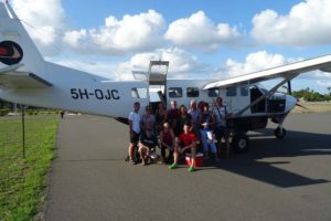 the DYC team at Mafia airport - Fin, Gabriella, Marina, Gunnar, Anne, Jurg, Birgit, Jason, Michael, Jude and Jon