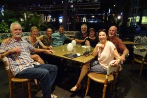 Guy, Cheryl, Jude, Jon, Rob, Robyn, Miles and Marina get together again for a lovely meal in Brisbane