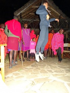 Jessie jumping higher than all the Maasai warriors