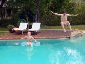 Jens loves swimming and gets Jon to do a bomby with him in the pool at Umani Springs