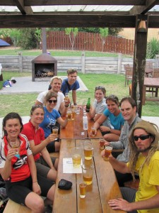 some beers after a great lunch at the Luggate pub