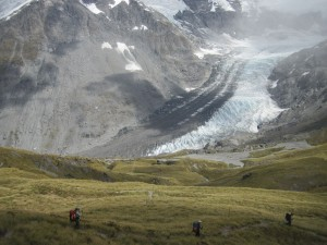 walking with a view of the Dart Glacier