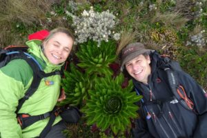 Jude and Jon hugging some cool looking alpine plants