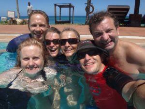 Debbie, Carl, Carla, Jude, Jon & Karl - pre-turtle-hatching dip in the pool