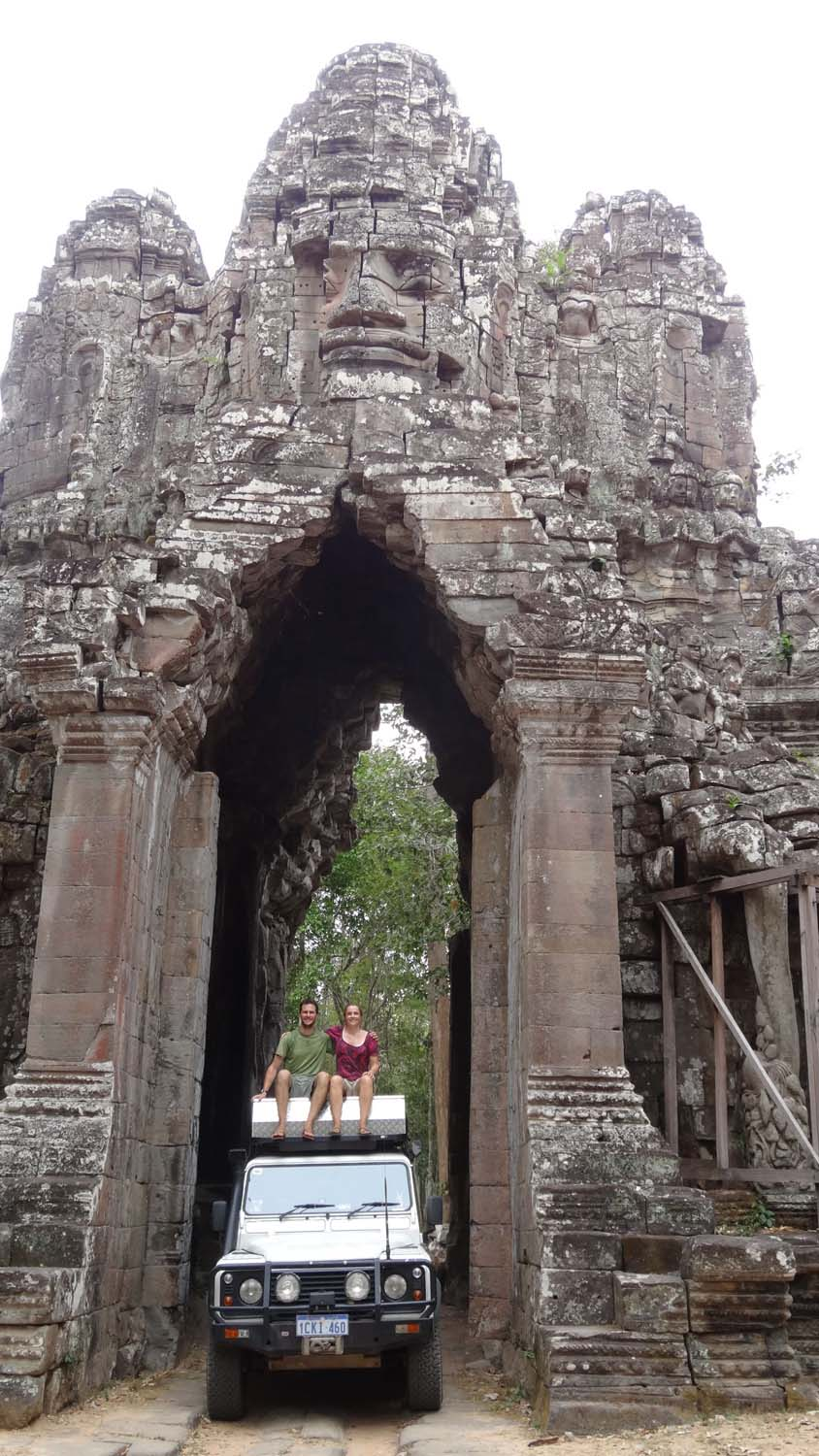 East gate at Angkor Thom with Lara