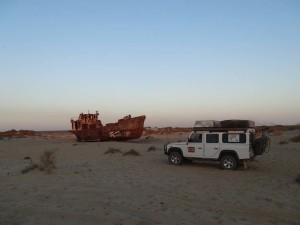 Lara parked where there used to be a huge inland sea - the Aral Sea (Uzbekistan). That night we camped in the Aral Sea.