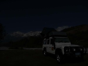 Lara under the stars in Arslandbob, the place in Kyrgyzstan where probably all your walnuts come from.