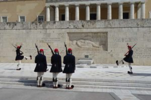 changing of the guard in Syntagma Square at the Monument of the Unknown Soldier