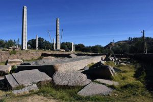 the three largest stelae in Axum: the broken stele in the foreground is the 33m long 'Great Stele', it probably fell when they were erecting it next is the 24m tall 'obelisk of Axum' which was taken to Italy as a war trophy in 1937, and returned and re-erected in 2008 the largest unbroken monument is King Ezana's stele, 21m tall, now supported by cables to remain standing