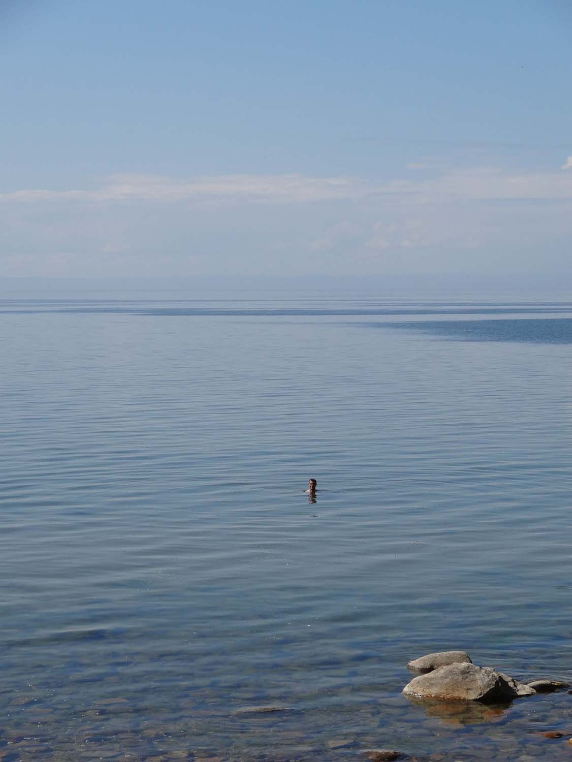 Jon braving the cold temperature of Lake Baikal for a quick swim (wash)