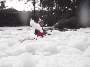 Jude disappears in the foam