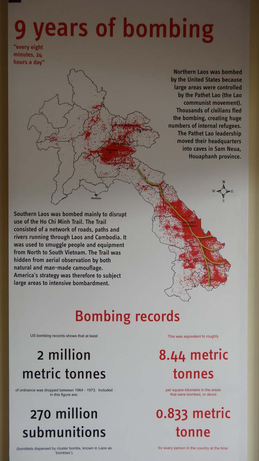 map of main bombing areas in Laos