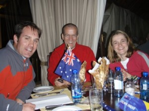 welcome dinner, we meet Dave our South African team mate