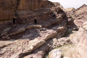 Bjørn, Jude, Jon and Yazam on the way to the second big waterfall in Wadi Himara