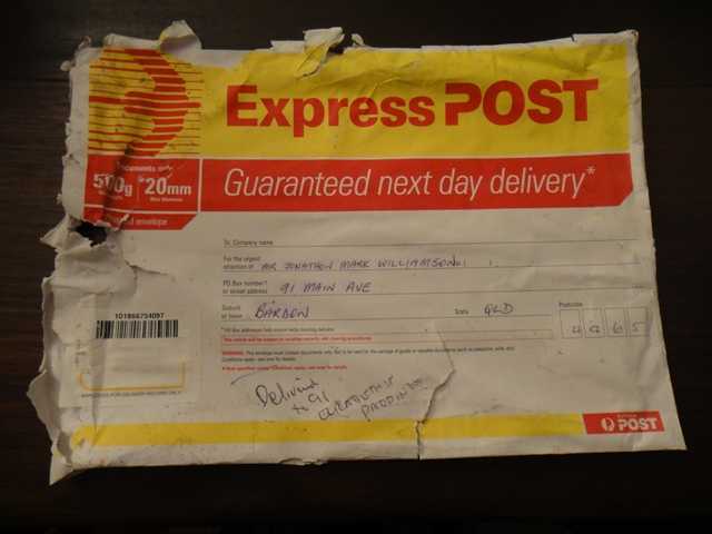 rather scruffy looking envelope, delivered to a (n almost completely) random address