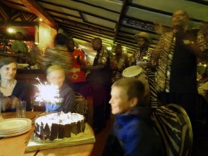 Jens in Carnivore with all staff and us singing 'happy birthday' to him