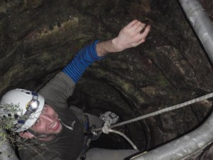 Marty climbing back out of Dingo Cave