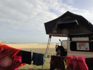 One of our first campsites in Malaysia on the beach at Cherating.