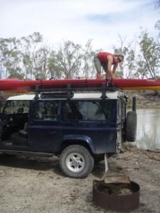 unloading the kayaks