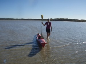 in some places it gets really shallow and it's faster to push