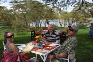 Jude, Rob and Joel having lunch at the Ranch House Bistro at the edge of Lake Naivasha
