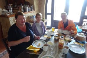 Andrea, Bernice and Jude having a late breakfast after a morning run