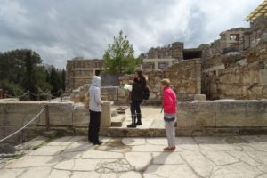 Jude and Bernice listening to the guide at Knossos