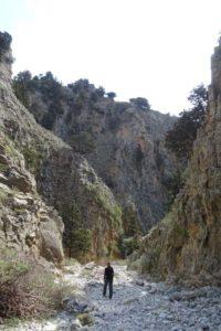 Jude walking down Imbros Gorge
