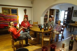 Jude, Andrea, Ian and Bernice trying out some wines at Dourakis
