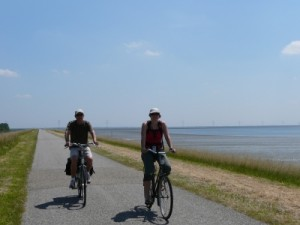 dad and Jude cycling along the polder