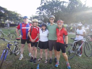 Dan, Barbara, Esther, Jon and Jude waiting for the start