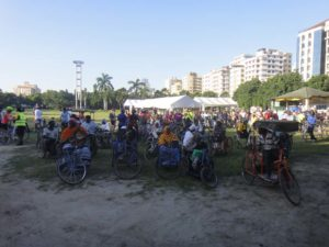some of the disabled people of Dar on their tricycles