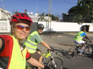 Jude and Jon riding in the cycle caravan in Dar es Salaam
