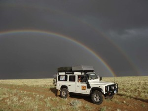 A rare instance of rain in the Goby Desert and a double rainbow comes out for Lara.