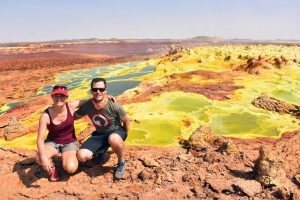 Jude and Jon in Dallol - it appears like a super thin earth crust