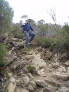 Jon coming down a steep slope